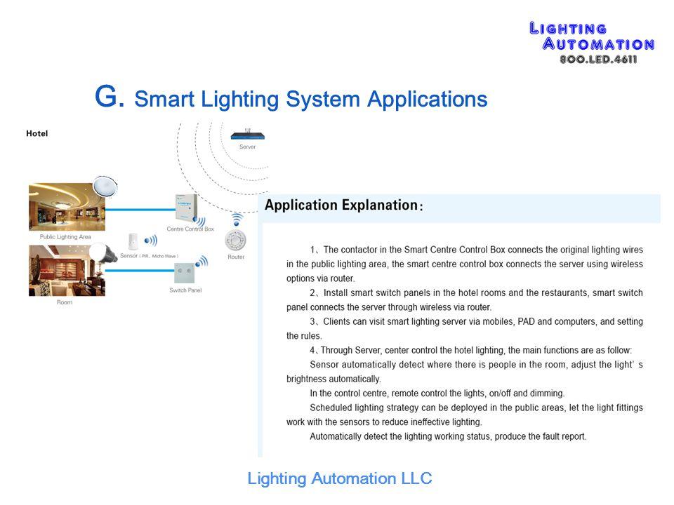 G. Smart Lighting System Applications
