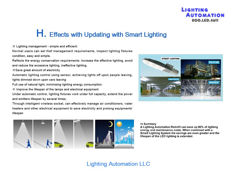 H. Effects with Updating with Smart Lighting Lighting Automation LLC
