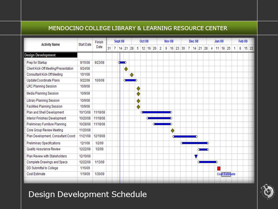 MENDOCINO COLLEGE LIBRARY & LEARNING RESOURCE CENTER Design Development Schedule
