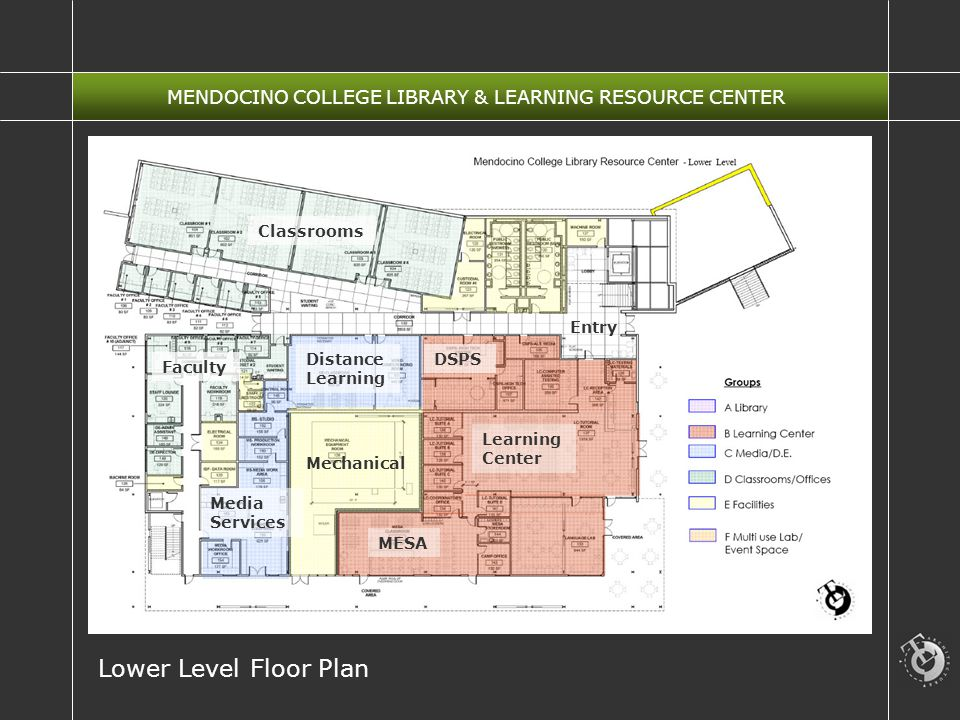 MENDOCINO COLLEGE LIBRARY & LEARNING RESOURCE CENTER Lower Level Floor Plan Classrooms Learning Center MESA Media Services Distance Learning DSPS Mechanical Faculty Entry