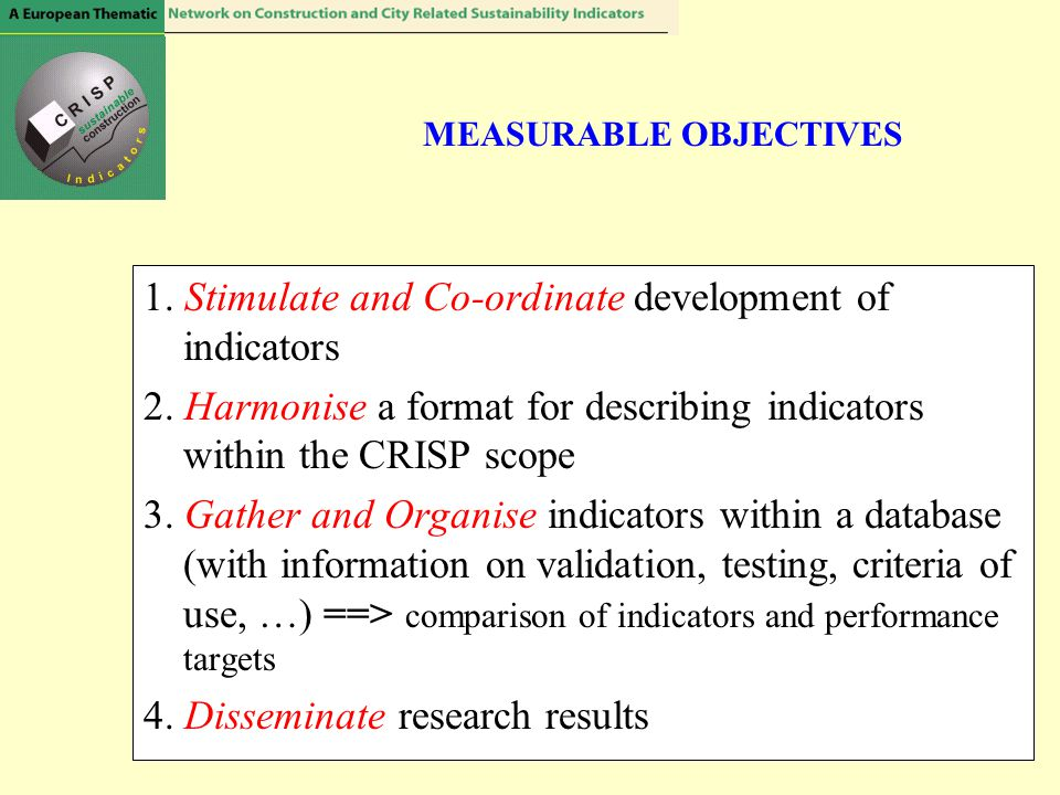 MEASURABLE OBJECTIVES 1.Stimulate and Co-ordinate development of indicators 2.