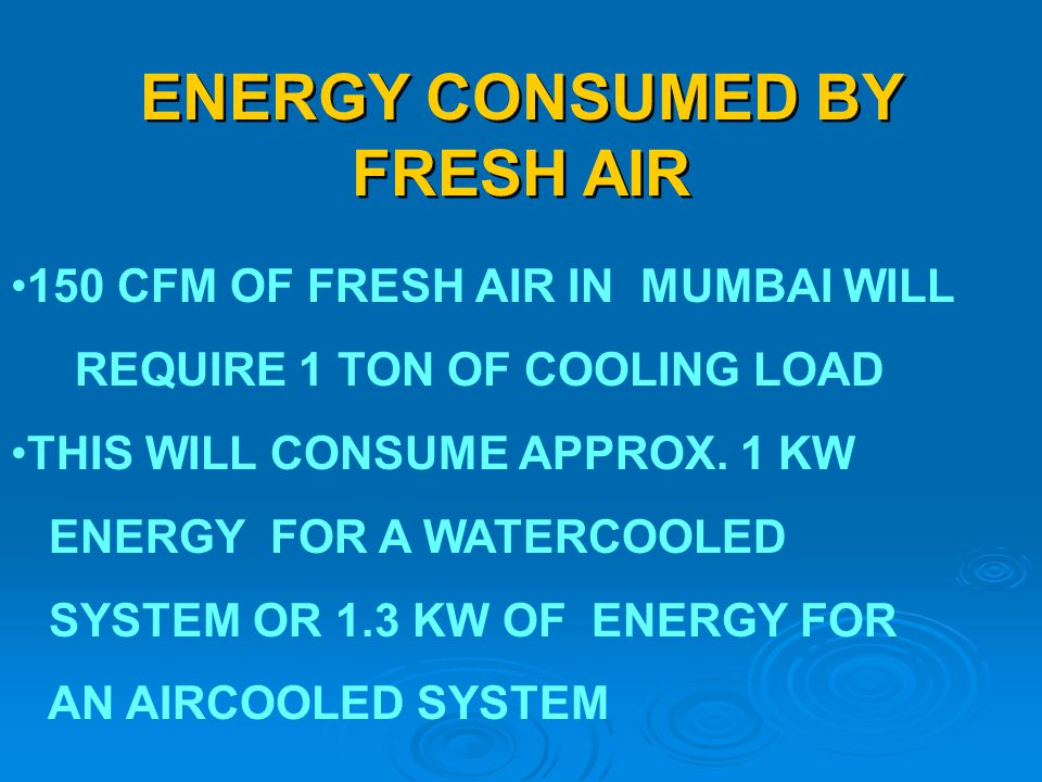 ENERGY CONSUMED BY FRESH AIR 150 CFM OF FRESH AIR IN MUMBAI WILL REQUIRE 1 TON OF COOLING LOAD THIS WILL CONSUME APPROX. 1 KW ENERGY FOR A WATERCOOLED