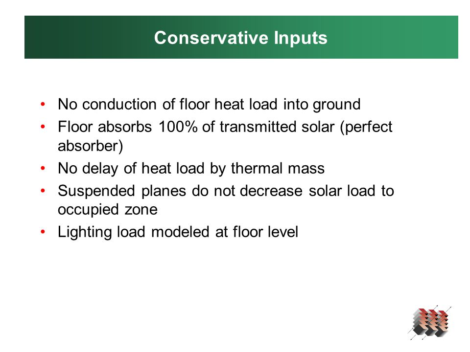 Conservative Inputs No conduction of floor heat load into ground Floor absorbs 100% of transmitted solar (perfect absorber) No delay of heat load by thermal mass Suspended planes do not decrease solar load to occupied zone Lighting load modeled at floor level