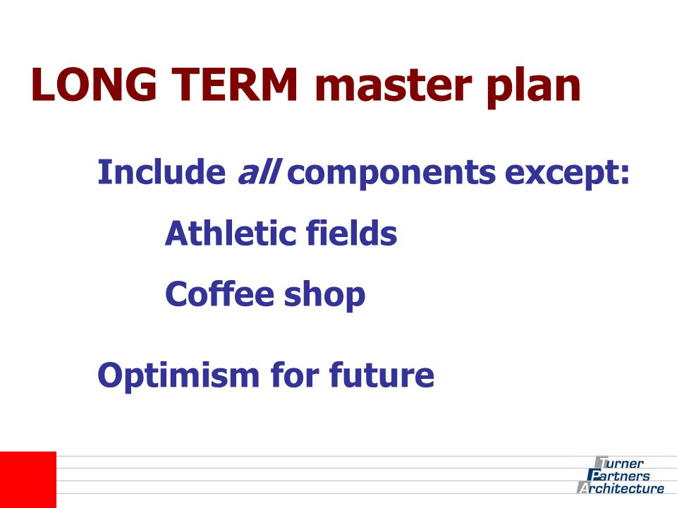 LONG TERM master plan Include all components except: Athletic fields Coffee shop Optimism for future