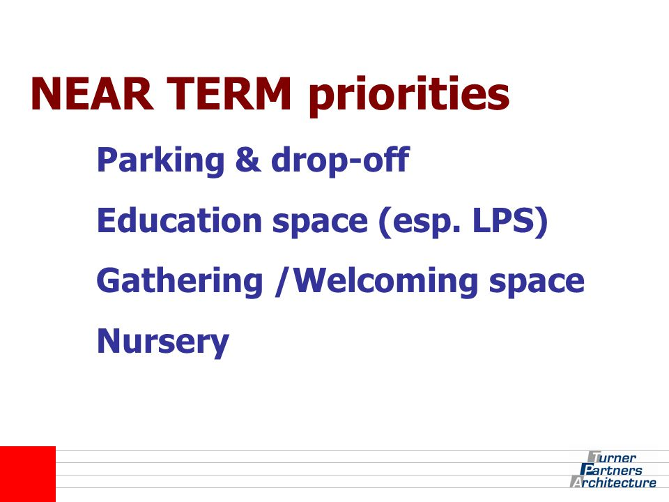 NEAR TERM priorities Parking & drop-off Education space (esp.