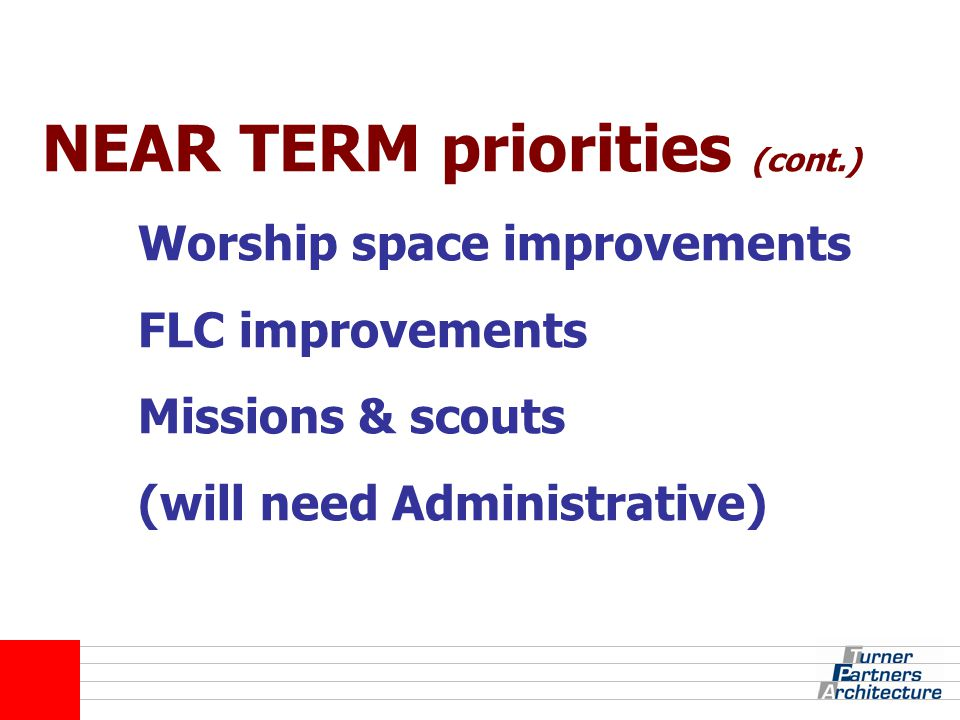 NEAR TERM priorities (cont.) Worship space improvements FLC improvements Missions & scouts (will need Administrative)