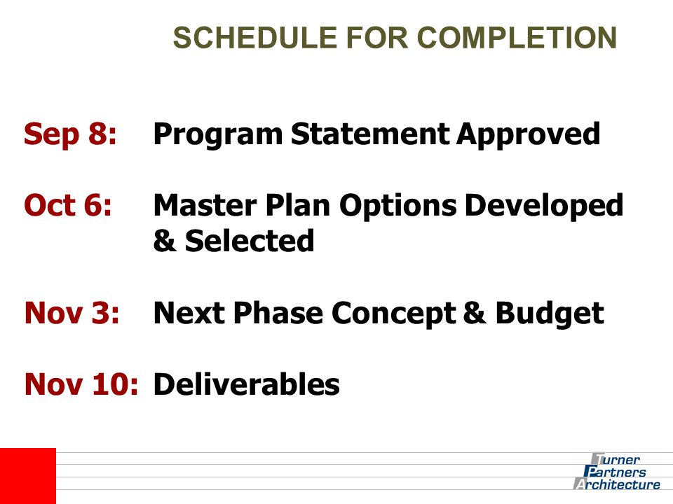 SCHEDULE FOR COMPLETION Sep 8: Oct 6: Nov 3: Nov 10: Program Statement Approved Master Plan Options Developed & Selected Next Phase Concept & Budget D