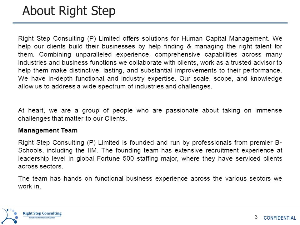 CONFIDENTIAL 3 About Right Step Right Step Consulting (P) Limited offers solutions for Human Capital Management.