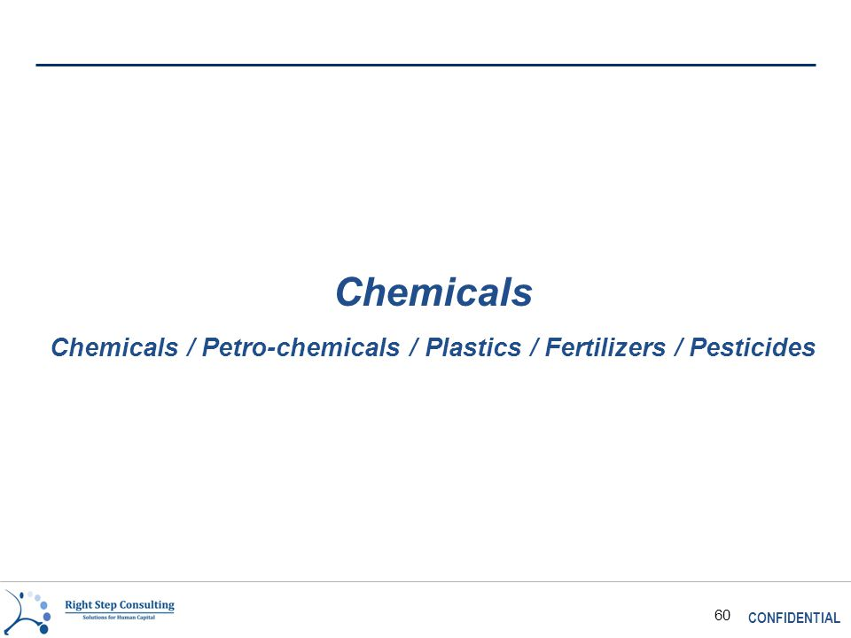 CONFIDENTIAL 60 Chemicals Chemicals / Petro-chemicals / Plastics / Fertilizers / Pesticides