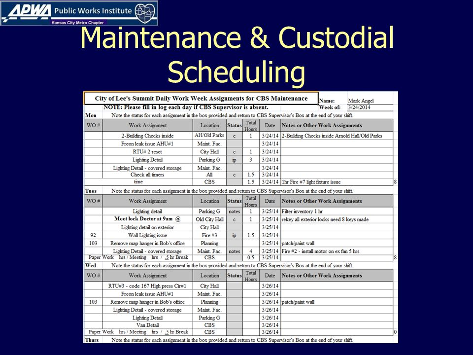 Maintenance & Custodial Scheduling