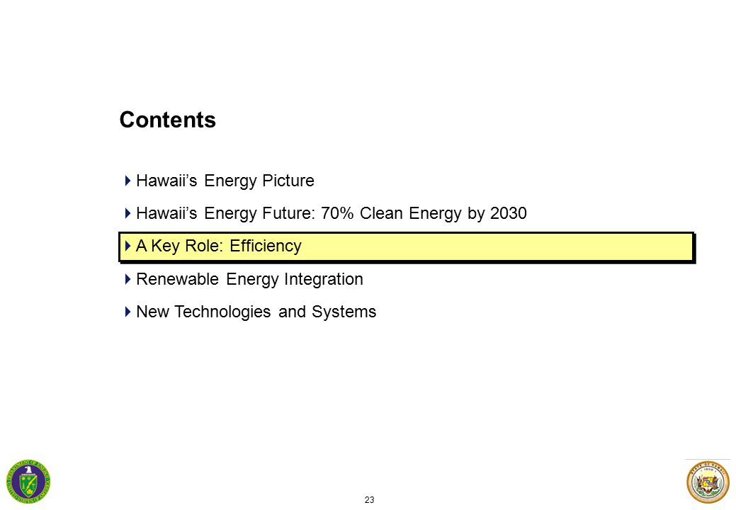 23 Contents  Hawaii's Energy Picture  Hawaii's Energy Future: 70% Clean Energy by 2030  A Key Role: Efficiency  Renewable Energy Integration  New Technologies and Systems