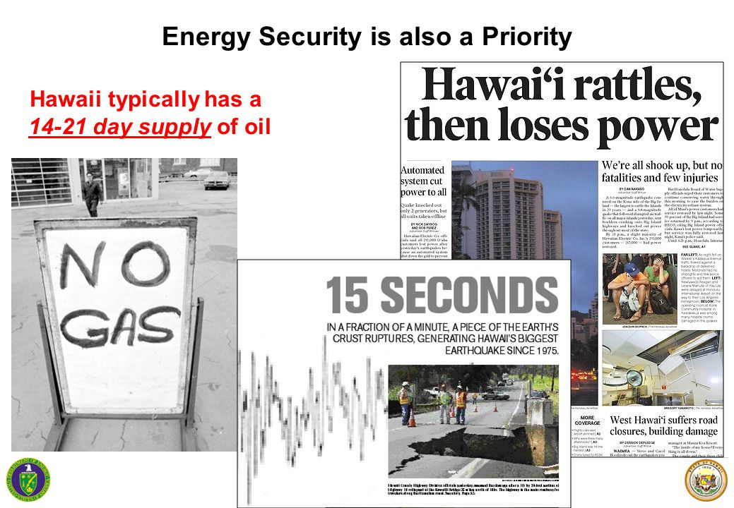 7 Energy Security is also a Priority Hawaii typically has a 14-21 day supply of oil
