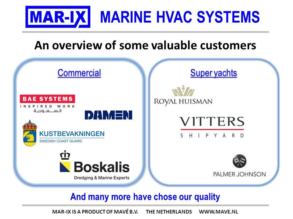 MARINE HVAC SYSTEMS 100kW (341.200Btu) MAR-IX IS A PRODUCT OF MAVÉ B.V. THE NETHERLANDS WWW.MAVE.NL