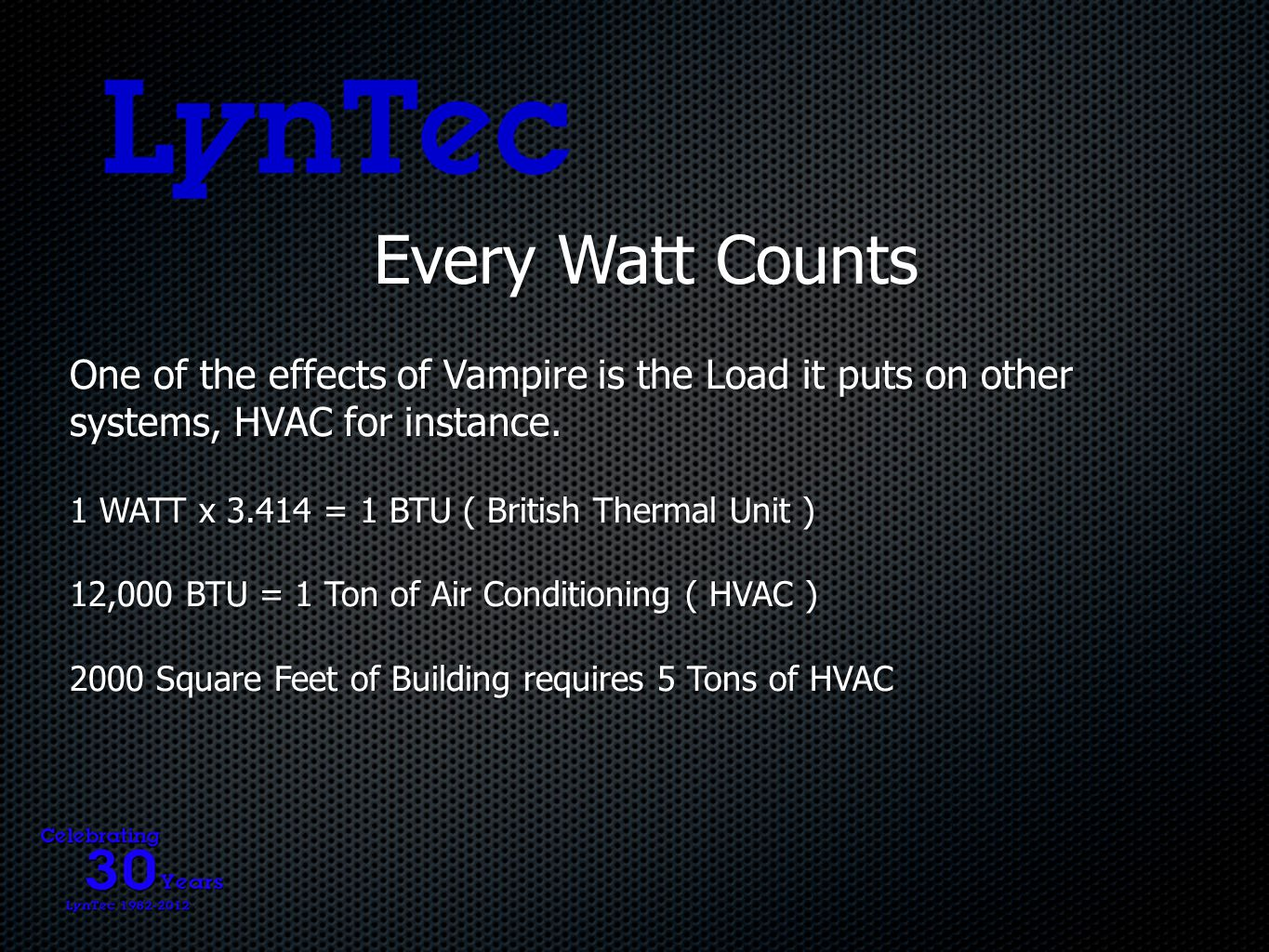 Every Watt Counts One of the effects of Vampire is the Load it puts on other systems, HVAC for instance.
