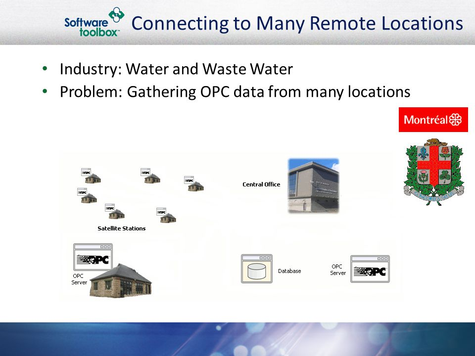 Connecting to Many Remote Locations Industry: Water and Waste Water Problem: Gathering OPC data from many locations