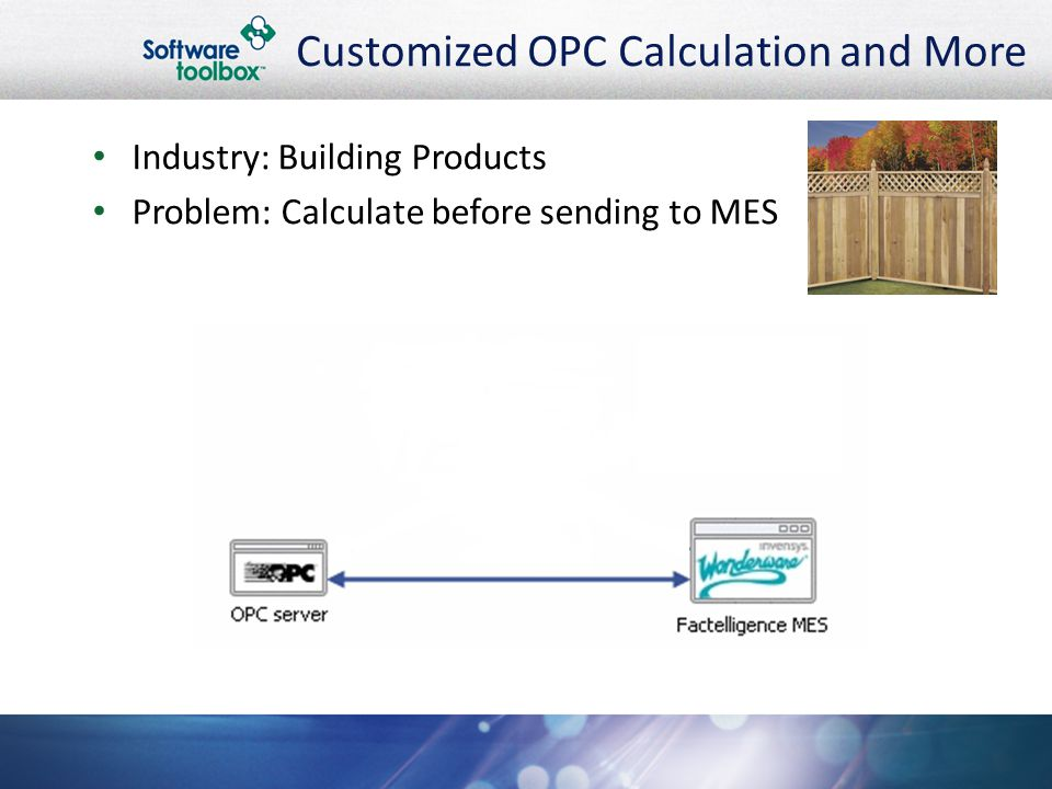 Customized OPC Calculation and More Industry: Building Products Problem: Calculate before sending to MES
