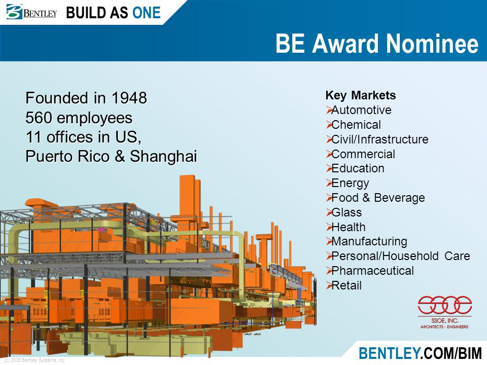 BUILD AS ONE BENTLEY.COM/BIM (c) 2005 Bentley Systems, Inc. BE Award Nominee Founded in 1948 560 employees 11 offices in US, Puerto Rico & Shanghai Ke