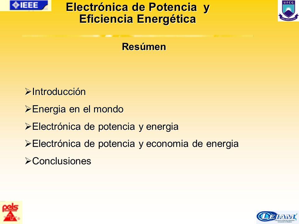 2/63 Electrónica de Potencia y Eficiencia Energética  Introducción  Energia en el mondo  Electrónica de potencia y energia  Electrónica de potenci
