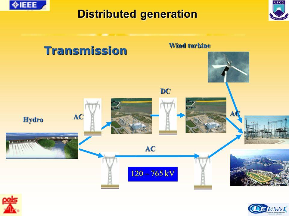 30/63 Transmission Wind turbine Hydro AC DC AC AC Distributed generation 120 – 765 kV