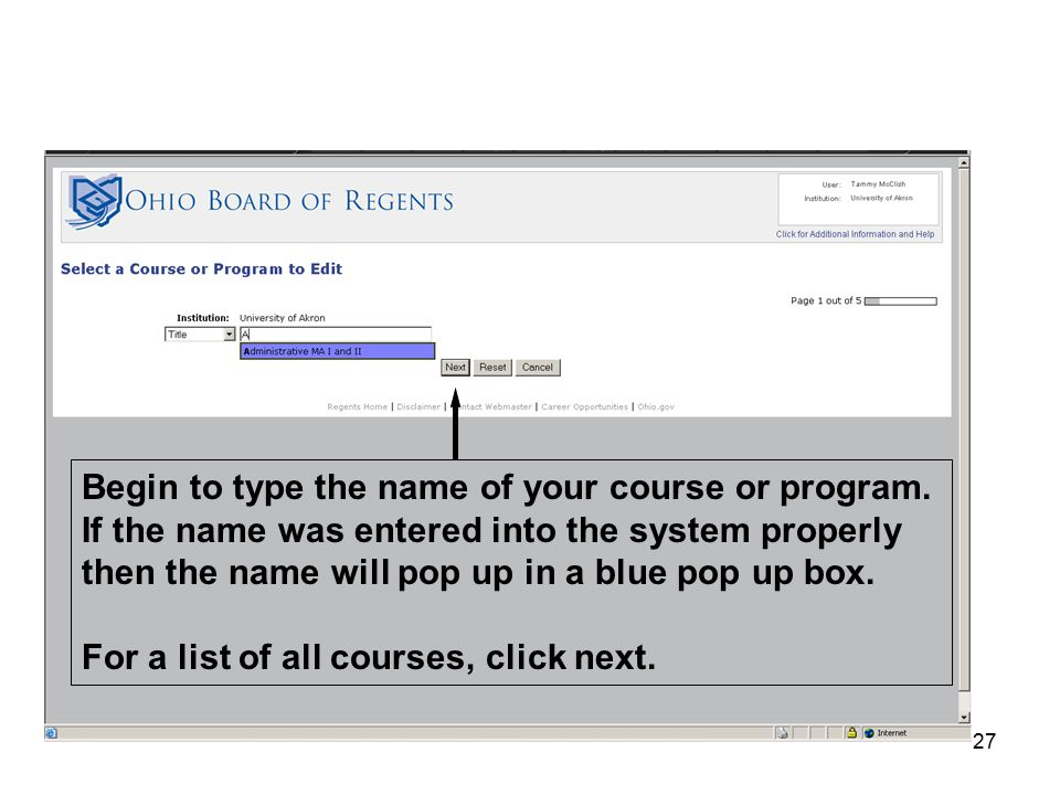 27 Begin to type the name of your course or program.