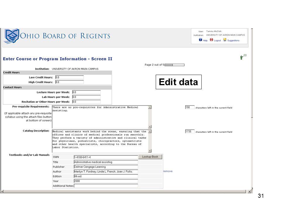 31 Edit data