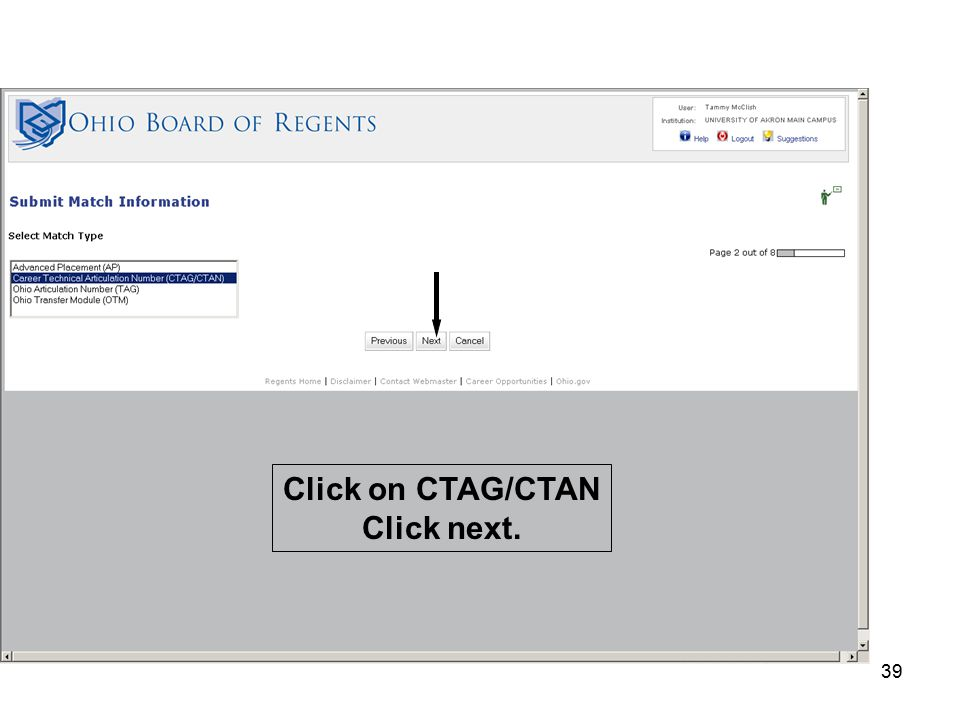 39 Click on CTAG/CTAN Click next.