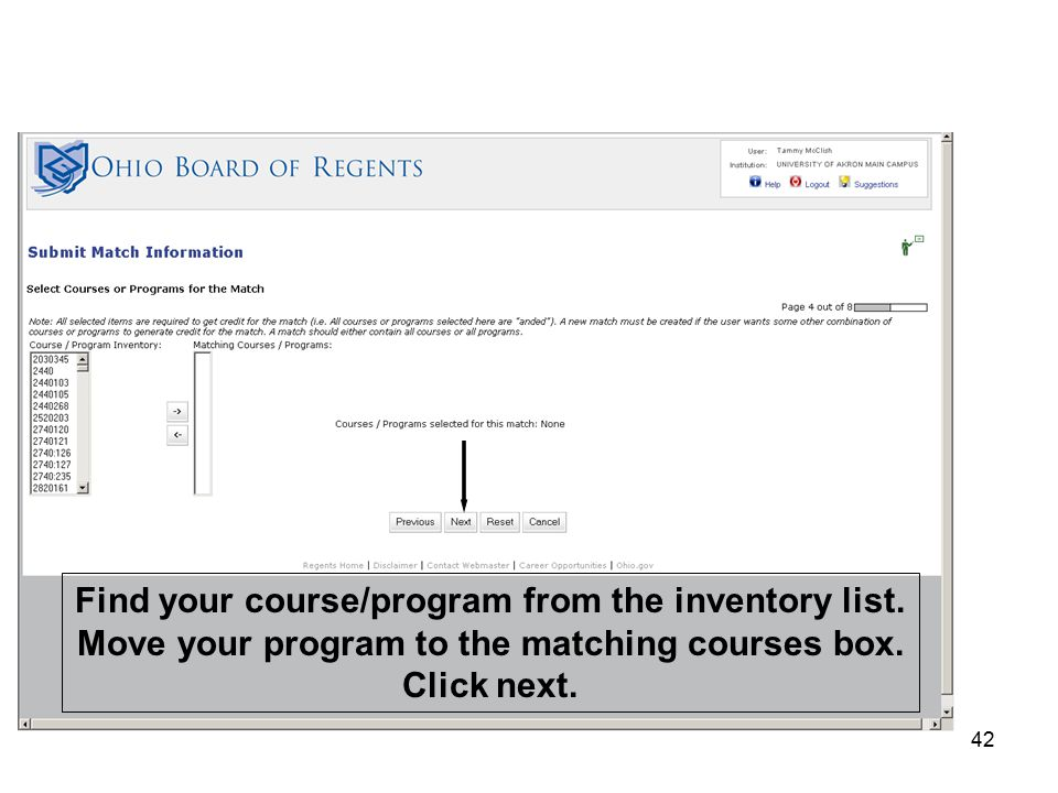 42 Find your course/program from the inventory list.