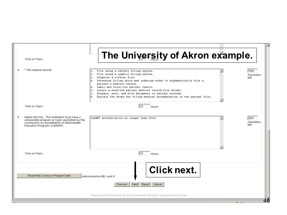 46 The University of Akron example. Click next.