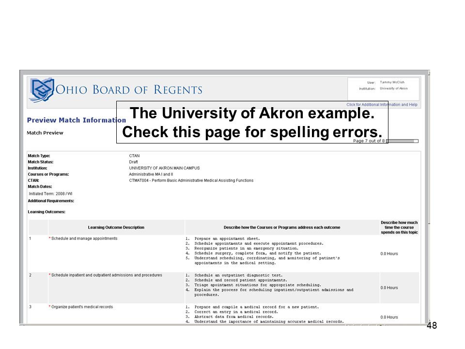 48 The University of Akron example. Check this page for spelling errors.