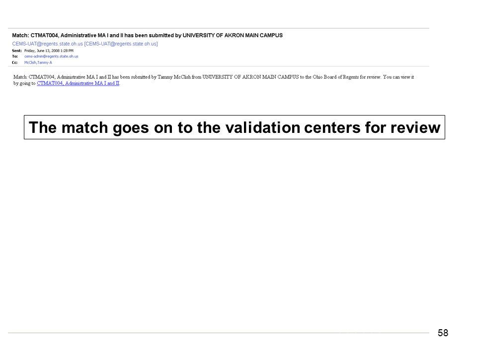 The match goes on to the validation centers for review 58