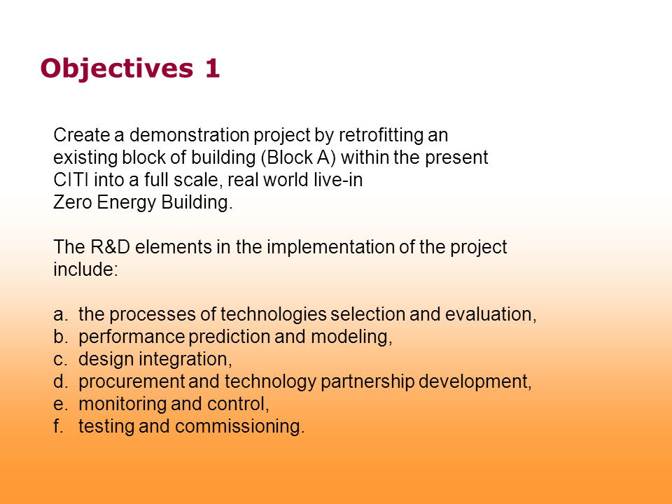 Create a demonstration project by retrofitting an existing block of building (Block A) within the present CITI into a full scale, real world live-in Z