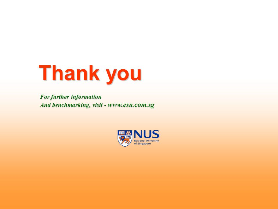 Thank you For further information And benchmarking, visit - www.esu.com.sg