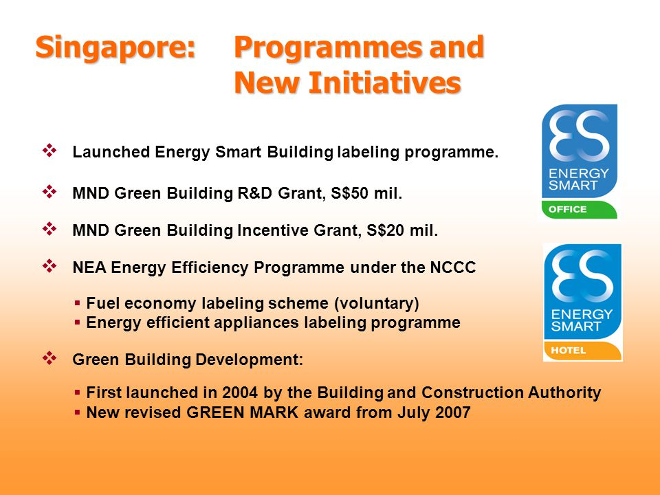 Singapore: Programmes and New Initiatives  MND Green Building R&D Grant, S$50 mil.  MND Green Building Incentive Grant, S$20 mil.  NEA Energy Effic
