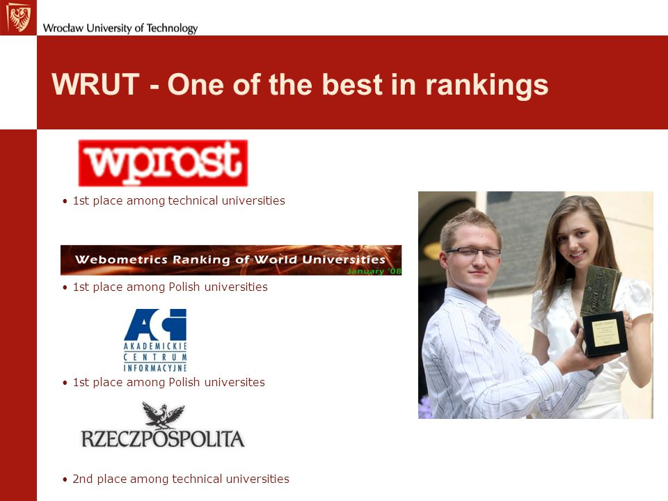 Wrocław University of Technology, Poland General facts Foundation year – 1945 Soon, our 100th Anniversary.