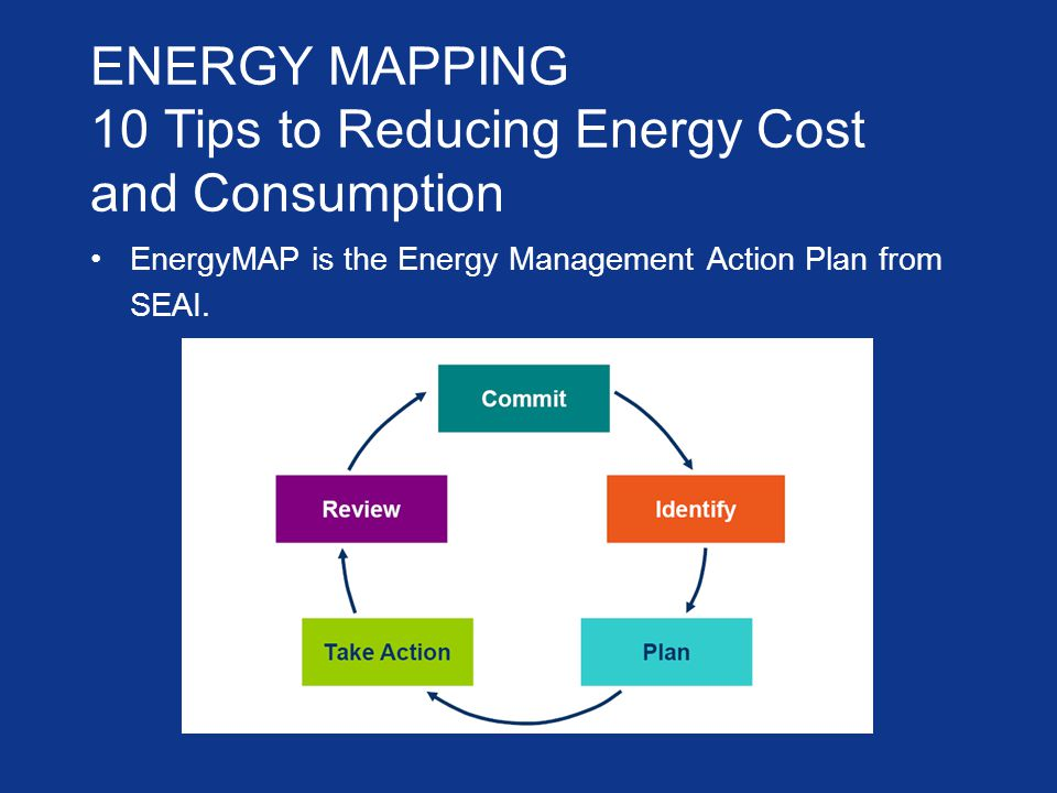 ENERGY MAPPING 10 Tips to Reducing Energy Cost and Consumption EnergyMAP is the Energy Management Action Plan from SEAI.