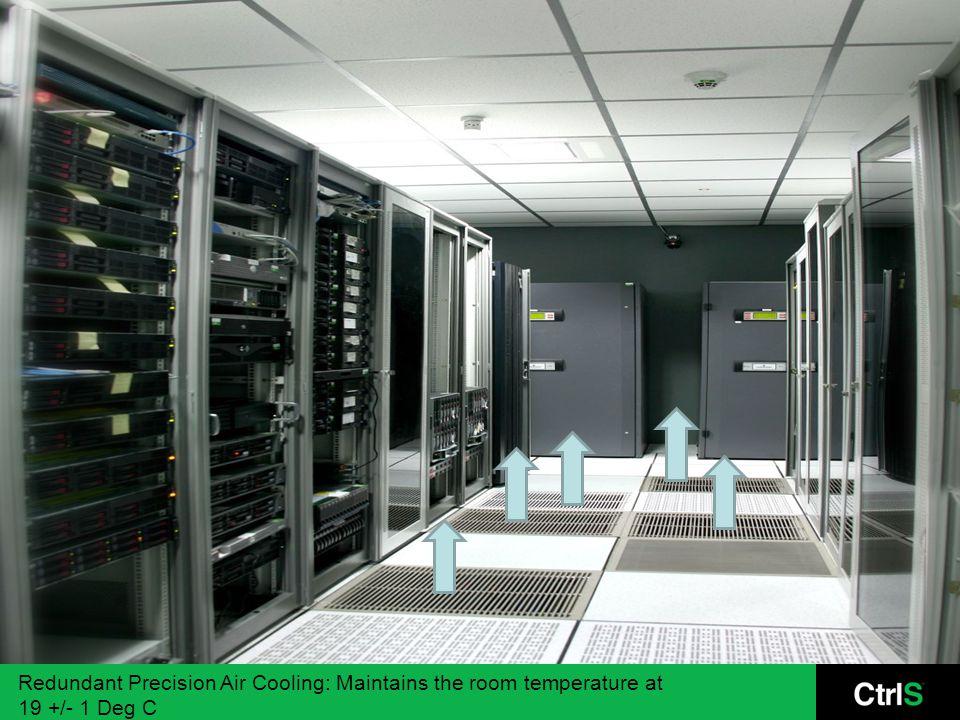 Redundant Precision Air Cooling: Maintains the room temperature at 19 +/- 1 Deg C
