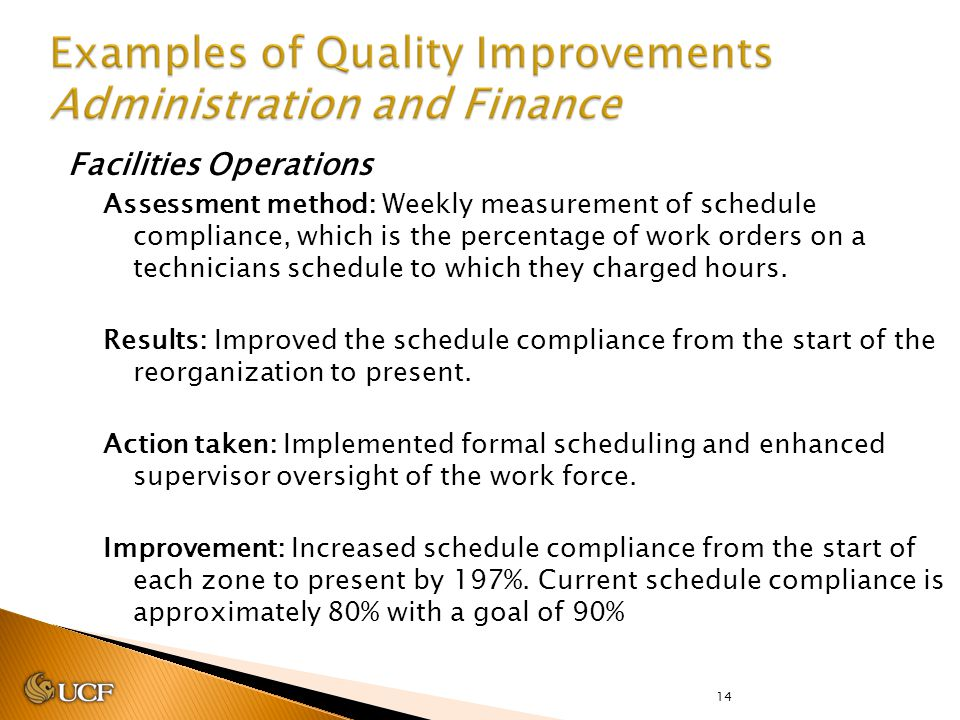 14 Facilities Operations Assessment method: Weekly measurement of schedule compliance, which is the percentage of work orders on a technicians schedul