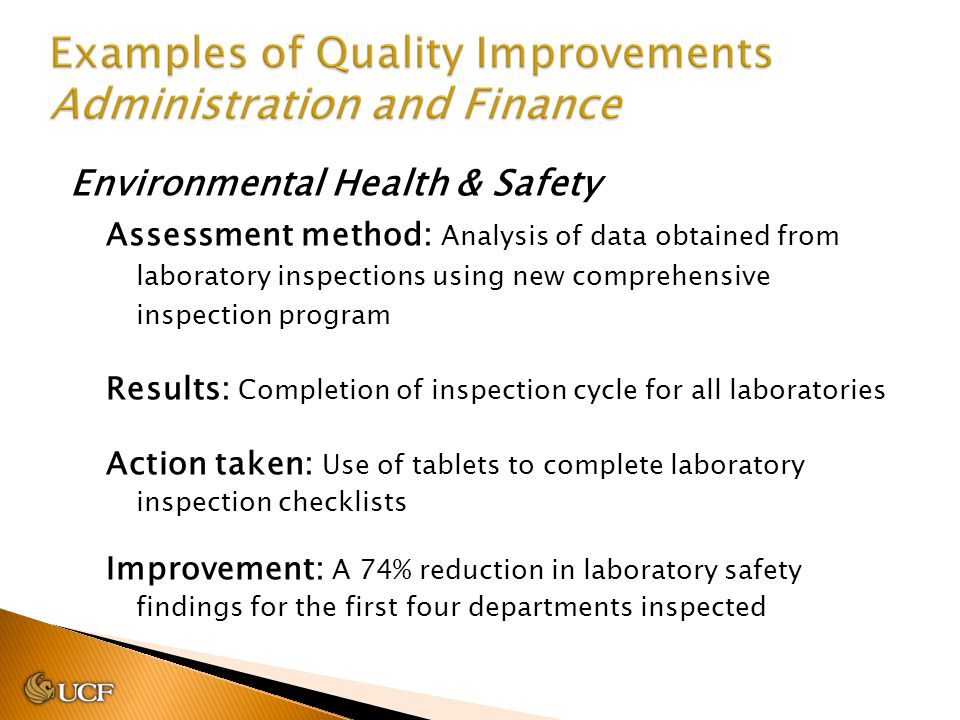 Environmental Health & Safety Assessment method: Analysis of data obtained from laboratory inspections using new comprehensive inspection program Resu