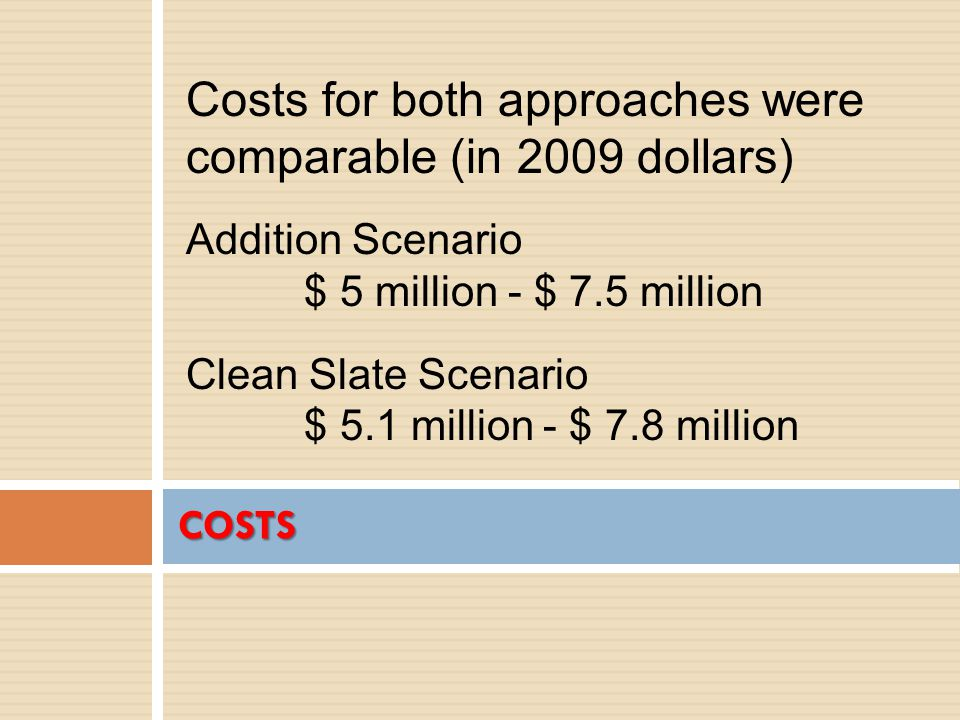 COSTS Costs for both approaches were comparable (in 2009 dollars) Addition Scenario $ 5 million - $ 7.5 million Clean Slate Scenario $ 5.1 million - $ 7.8 million