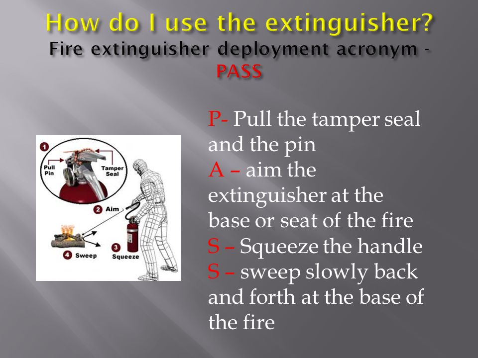 P- Pull the tamper seal and the pin A – aim the extinguisher at the base or seat of the fire S – Squeeze the handle S – sweep slowly back and forth at the base of the fire