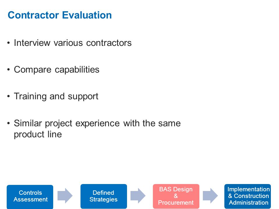 2. Interview various contractors Compare capabilities Training and support Similar project experience with the same product line Contractor Evaluation