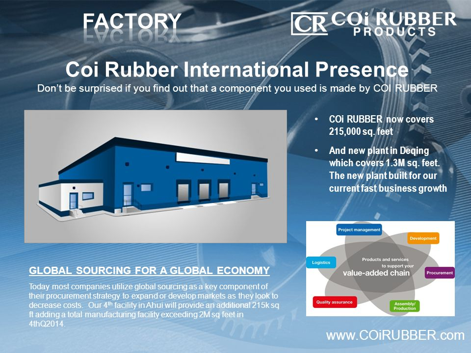 Coi Rubber International Presence Don't be surprised if you find out that a component you used is made by COI RUBBER www.COiRUBBER.com COi RUBBER now