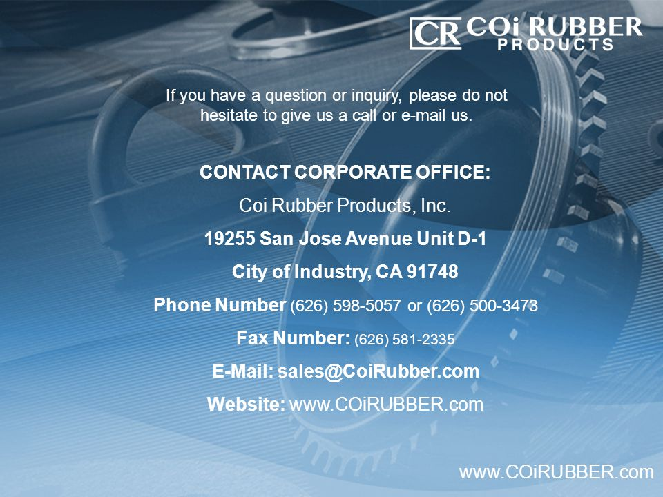 If you have a question or inquiry, please do not hesitate to give us a call or e-mail us.
