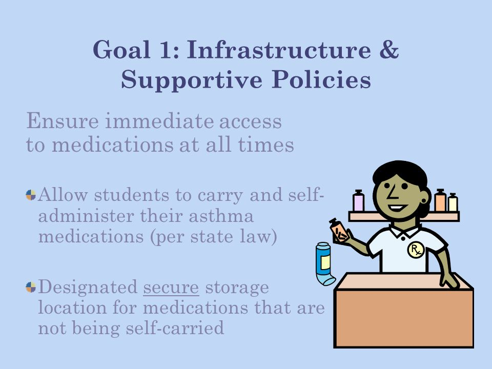 Goal 1: Infrastructure & Supportive Policies Ensure immediate access to medications at all times Allow students to carry and self- administer their asthma medications (per state law) Designated secure storage location for medications that are not being self-carried