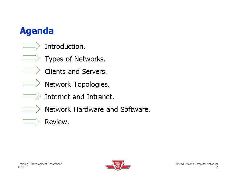 Training & Development Department 0714 Introduction to Computer Networks 23 Network Topologies.