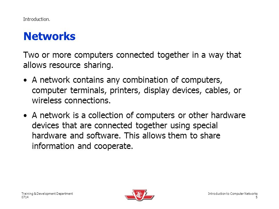 Training & Development Department 0714 Introduction to Computer Networks 36 Network Topologies.