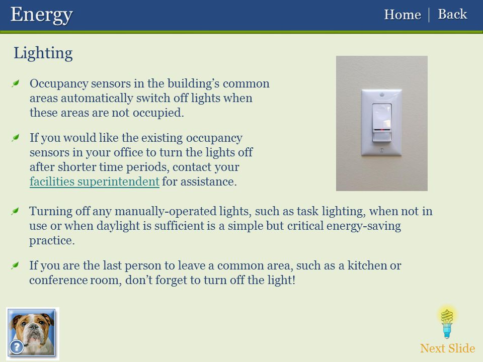 Next Slide Lighting Occupancy sensors in the building's common areas automatically switch off lights when these areas are not occupied. If you would l