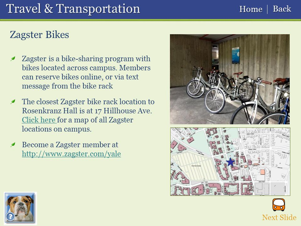 Zagster Bikes Next Slide Travel & Transportation Travel & Transportation Home Home Back Back Zagster is a bike-sharing program with bikes located acro