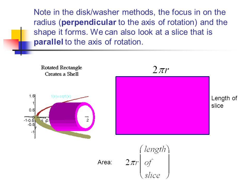 Area: Length of slice