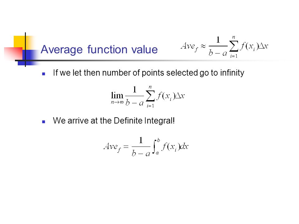 Average function value If we let then number of points selected go to infinity We arrive at the Definite Integral!